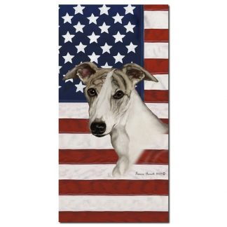 Whippet Beach Towel - Patriotic (Fawn Brindle)