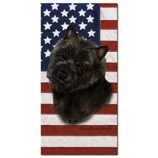 Cairn Terrier Beach Towel - Patriotic (Black)