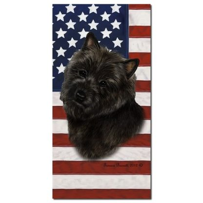 Cairn Terrier Beach Towel - Patriotic (Black)