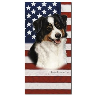 Black Tri Australian Shepherd Beach Towel - Patriotic