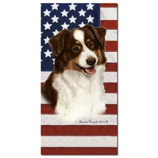 Red Tri Australian Shepherd Beach Towel - Patriotic