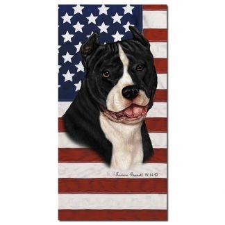 Pitbull Terrier Beach Towel - Patriotic (Black White)