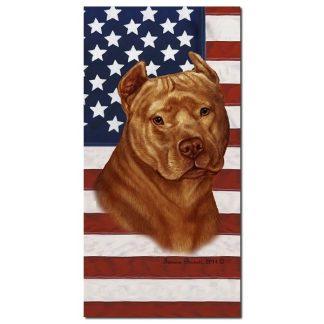 Pitbull Terrier Beach Towel - Patriotic (Orange)