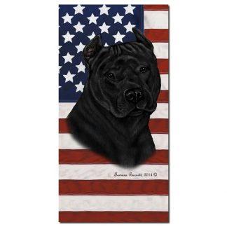 Pitbull Terrier Beach Towel - Patriotic (Black)