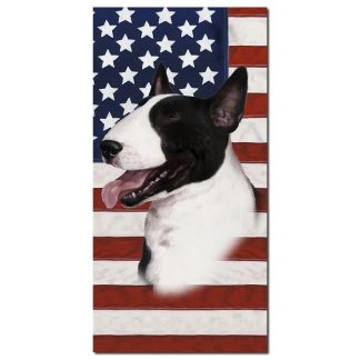 Bull Terrier Beach Towel - Patriotic (Black White)
