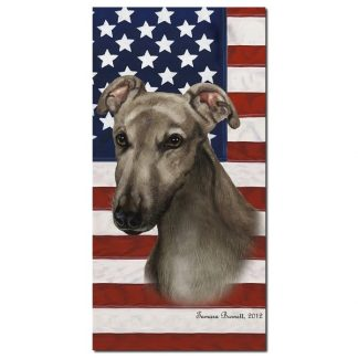 Greyhound Beach Towel - Patriotic (Grey)