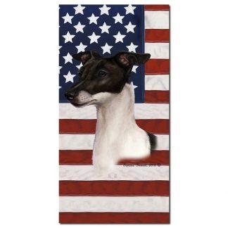 Italian Greyhound Beach Towel - Patriotic (Black White)