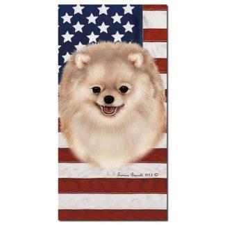 Pomeranian Beach Towel - Patriotic (Cream)