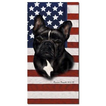 French Bulldog Beach Towel - Patriotic (Black White)