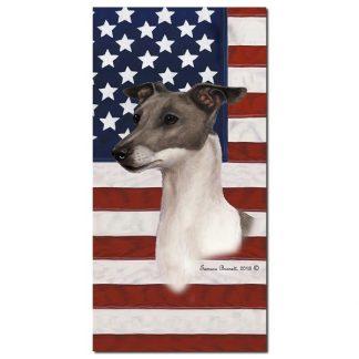 Italian Greyhound Beach Towel - Patriotic (Blue White)