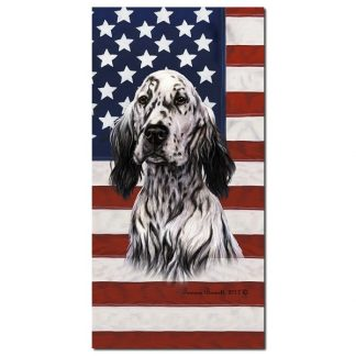 English Setter Beach Towel - Patriotic (Black)