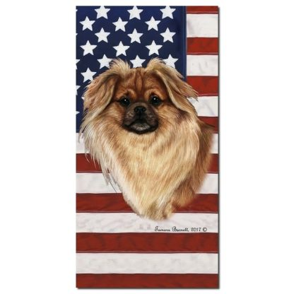 Tibetan Spaniel Beach Towel - Patriotic (Red)