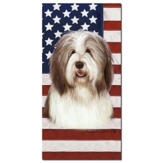Bearded Collie Beach Towel - Patriotic (Brown)