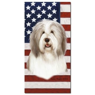 Bearded Collie Beach Towel - Patriotic (Fawn)