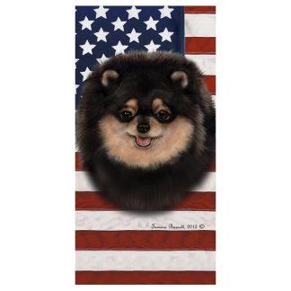 Pomeranian Beach Towel - Patriotic (Black Tan)