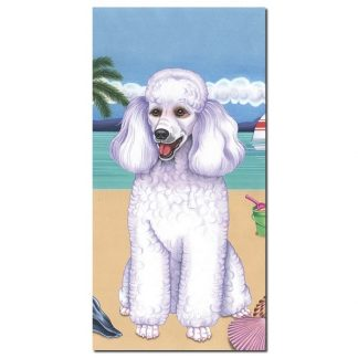 White Poodle Beach Towel - Summer