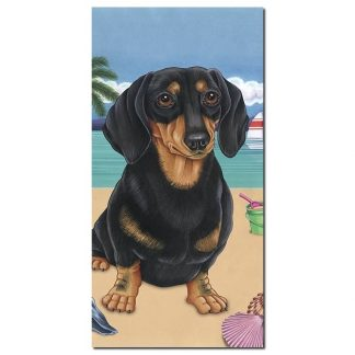 Dachshund Beach Towel - Summer (Black Tan)