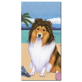 Shetland Sheepdog Beach Towel - Summer