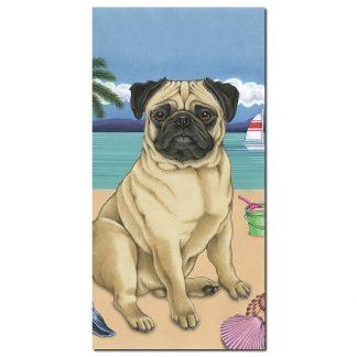 Pug Beach Towel - Summer (Fawn)