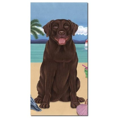 Chocolate Lab Beach Towel - Summer