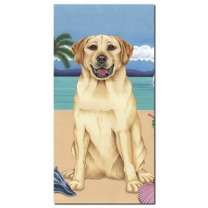 Yellow Lab Beach Towel - Summer