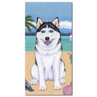 Siberian Husky Beach Towel - Summer
