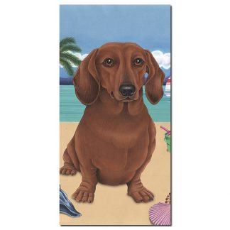 Dachshund Beach Towel - Summer (Red)