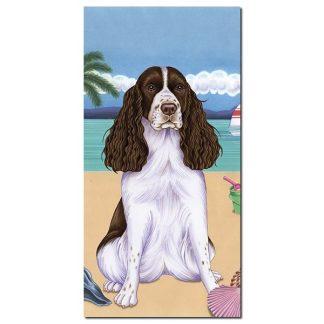 Springer Spaniel Beach Towel - Summer (Liver)