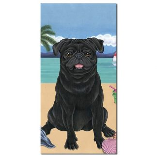 Pug Beach Towel - Summer (Black)