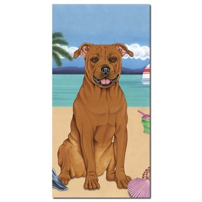 Pitbull Terrier Beach Towel - Summer