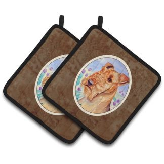 Airedale Terrier Pot Holders (Pair)
