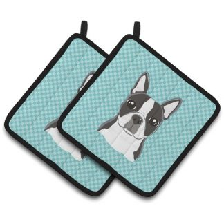 Boston Terrier Pot Holders - Blue (Pair)