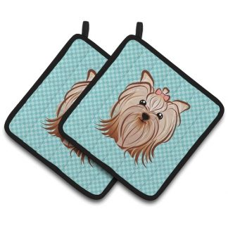 Yorkshire Terrier Pot Holders - Blue (Pair)