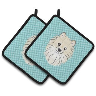 Pomeranian Pot Holders - Blue (Pair)