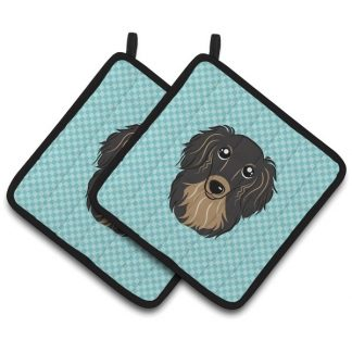 Longhaired Dachshund Pot Holders (Black Tan) - Blue (Pair)