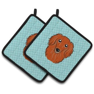 Longhaired Dachshund Pot Holders (Red) - Blue (Pair)