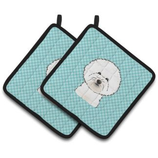 Bichon Frise Pot Holders - Blue (Pair)