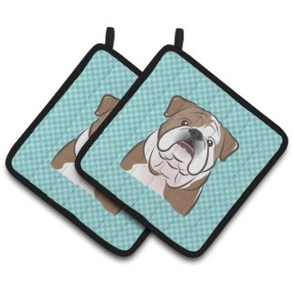 Bulldog Pot Holders - Blue (Pair)