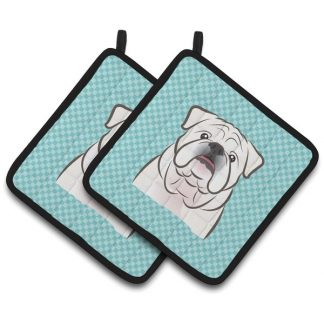 Bulldog Pot Holders (White) - Blue (Pair)