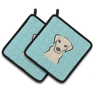 Yellow Lab Pot Holders - Blue (Pair)