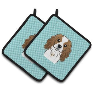 Cavalier Spaniel Pot Holders - Blue (Pair)