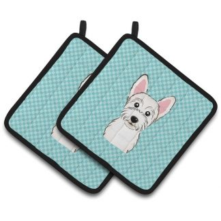 West Highland Terrier Pot Holders - Blue (Pair)