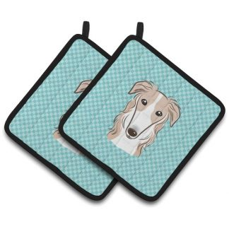 Borzoi Pot Holders - Blue (Pair)