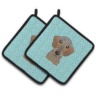 Wirehaired Dachshund Pot Holders - Blue (Pair)