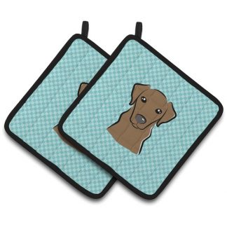 Chocolate Lab Pot Holders - Blue (Pair)