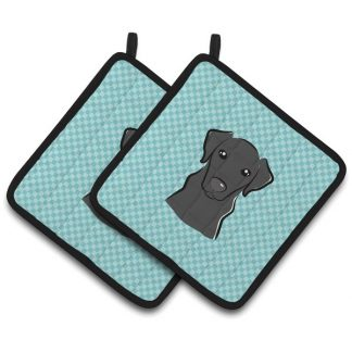 Black Lab Pot Holders - Blue (Pair)
