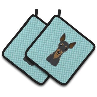 Miniature Pinscher Pot Holders - Blue (Pair)