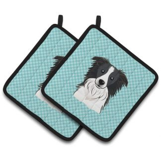 Border Collie Pot Holders - Blue (Pair)