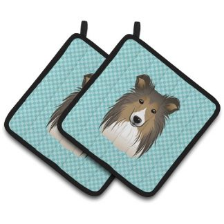Shetland Sheepdog Pot Holders - Blue (Pair)