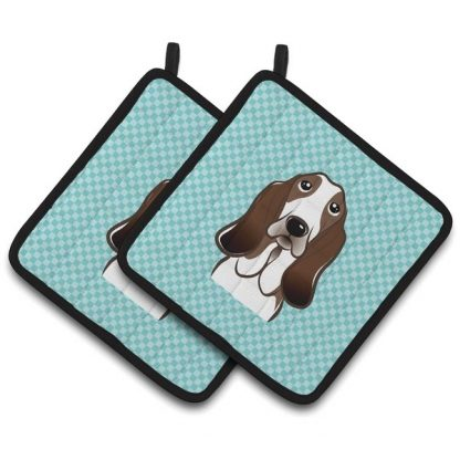 Basset Hound Pot Holders - Blue (Pair)